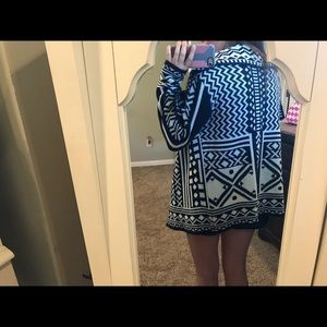 Navy and White Patterned Sweater